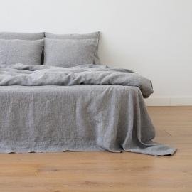 Washed Bed Linen Flat Sheet Melange Graphite