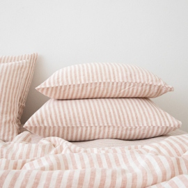 Washed Bed Linen Pillow Case Ticking Stripe Rosa