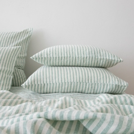 Washed Bed Linen Pillow Case Ticking Stripe Mint