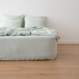 Washed Bed Linen Fitted Sheet Ticking Stripe Mint