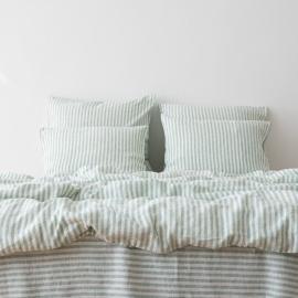 Washed Bed Linen Set Ticking Stripe Mint