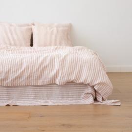 Washed Bed Linen Duvet Ticking Stripe Rosa
