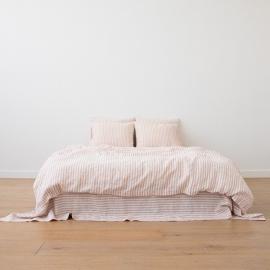 Washed Bed Linen Set Ticking Stripe Rosa