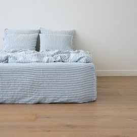 Washed Bed Linen Fitted Sheet Ticking Stripe Blue
