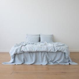 Washed Bed Linen Set Ticking Stripe Blue