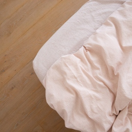 Washed Bed Linen Fitted Sheet Pinstripe Rosa