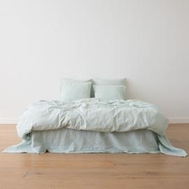 Washed Bed Linen Flat Sheet Pinstripe Mint