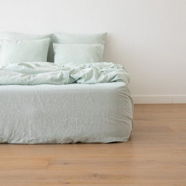 Washed Bed Linen Fitted Sheet Pinstripe Mint