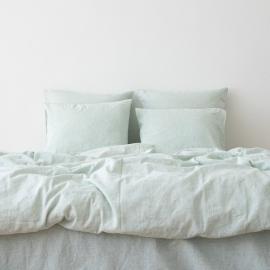 Washed Bed Linen Duvet Pinstripe Mint