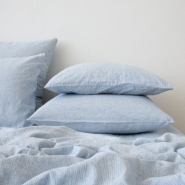 Washed Bed Linen Pillow Case Pinstripe Blue