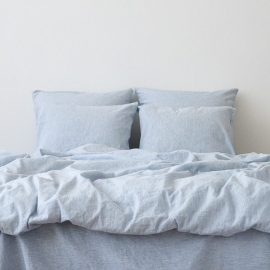 Washed Bed Linen Set Pinstripe Blue