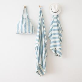 Marine Blue Linen Beach Bag Philippe