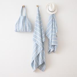 Blue Linen Beach Bag Multistripe