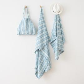 Linen Beach Towel Multistripe Marine Blue