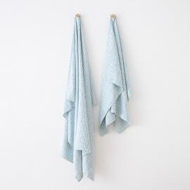 Linen Beach Towel Brittany Marine Blue