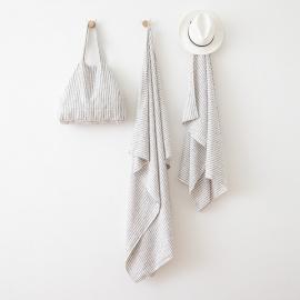 Linen Beach Towel Brittany Graphite