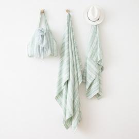 Linen Beach Towel Multistripe Aqua Foam