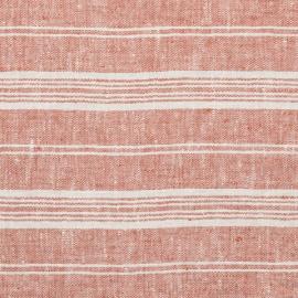 Brick Linen Fabric Multistripe Washed