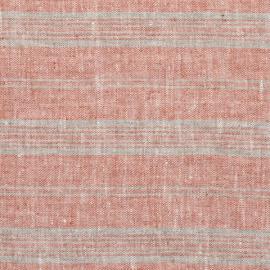 Brick Natural Linen Fabric Multistripe Washed