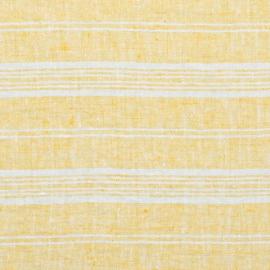 Yellow Linen Fabric MultistripeWashed