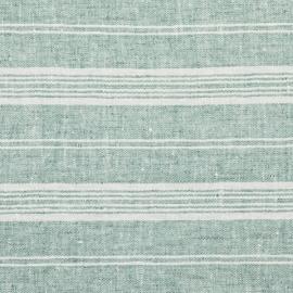 Aqua Foam Linen Fabric Multistripe Washed