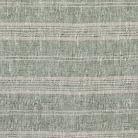 Forest Green Natural Linen Fabric Multistripe Washed