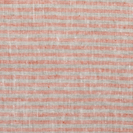 Brick Natural Linen Fabric Brittany Washed