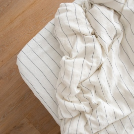 White Navy Linen Deep Fitted Sheet Large Stripe Washed