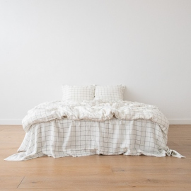 Linen Bed Set White Navy Window Pane Washed