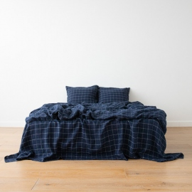 Linen Bed Set Navy White Window Pane Washed