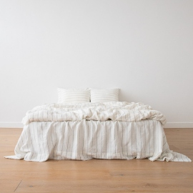 Linen Bed Set White Navy Large Striped Washed