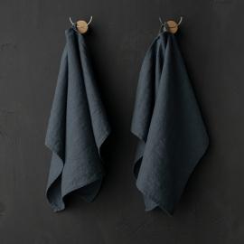 Set of 2 Blue Linen Tea Towels Terra