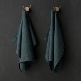 Set of 2 Balsam Green Linen Tea Towels Terra