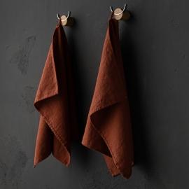 Set of 2 Brick Linen Tea Towels Terra