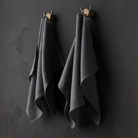 Set of 2 Steel Grey Linen Tea Towels Terra
