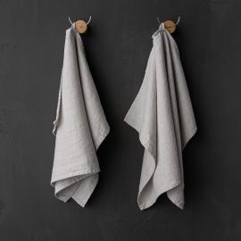 Set of 2 Silver Linen Tea Towels Terra