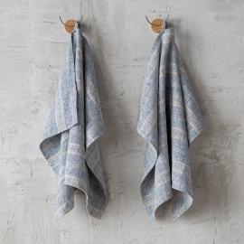 Set of 2 Indigo Natural Linen Tea Towels Multistripe