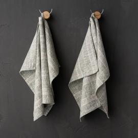Set of 2 Forest Green Natural Linen Tea Towels Multistripe