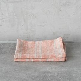 Set of 2 Brick Natural Linen Tea Towels Multistripe