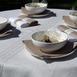 Stitch Collection White & Sand Linen