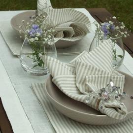 Linen Table Runner Off White Emilia & Jazz Beige Napkins