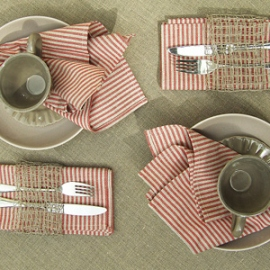 Jazz Red Linen Napkins & Una Tablecloth Natural Linen