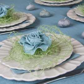 Terra Blue Tablecloth & Twist Lime Green Placemat