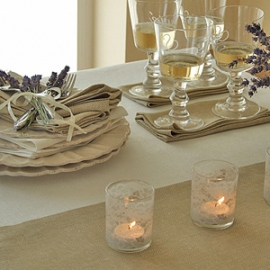 Rhomb Linen Tablecloth Off White and Napkins Wheat