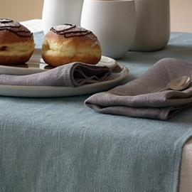 Cream Linen Tablecloth, Napkins Natural, Lake Blue Runner Lara