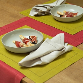 Emilia Napkin Sand Placemat Citrine & Runner Red