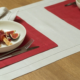 Emilia Placemat Red Runner and Napkin Sand