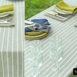 Lara Napkins Celery, Chambray and Brittany Tablecloth Natural