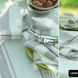 Tuscany Tablecloth, Philippe Runner and Napkins Grey