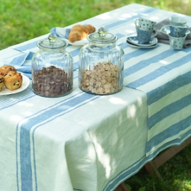 Tablecloth Blue Striped Tuscany, Napkins and Runner Blue Striped Phillipe